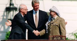 Clinton, Rabin and Arafat at signing of Oslo I - is there occupation after Oslo?